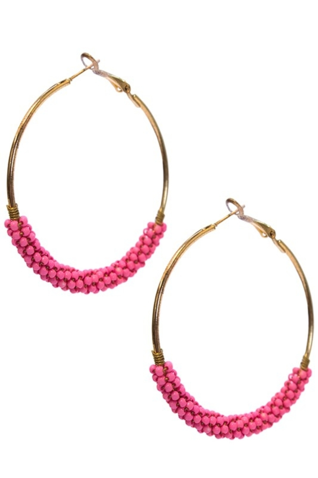 suzie q usa  Beaded Hoop Earrings - Front Cropped Image
