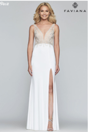 Faviana Beaded Ivory Gown - Front cropped