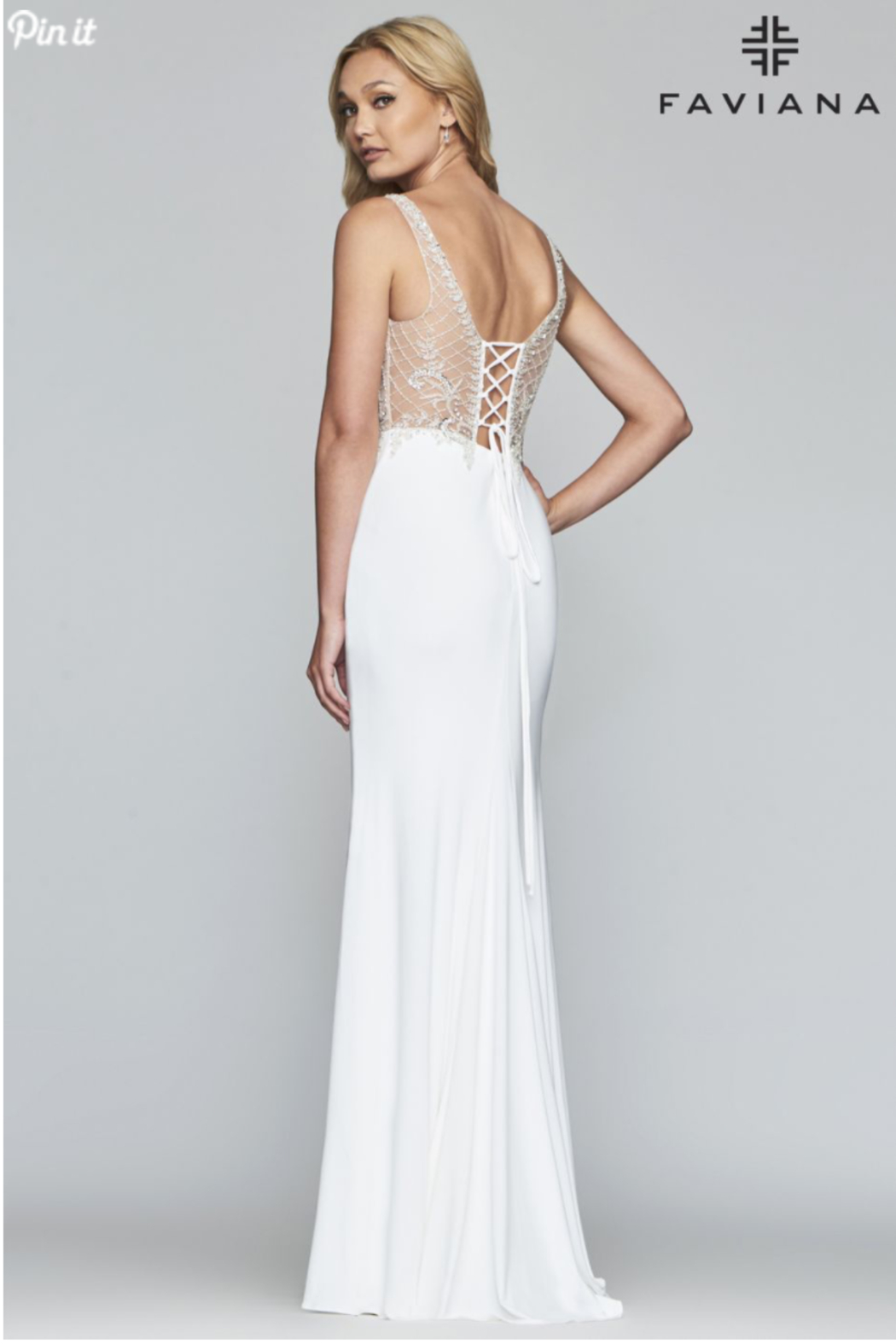 Faviana Beaded Ivory Gown - Front Full Image