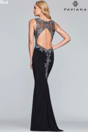 Faviana Beaded Jersey Gown - Front full body