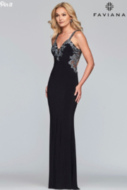 Faviana Beaded Jersey Gown - Product Mini Image