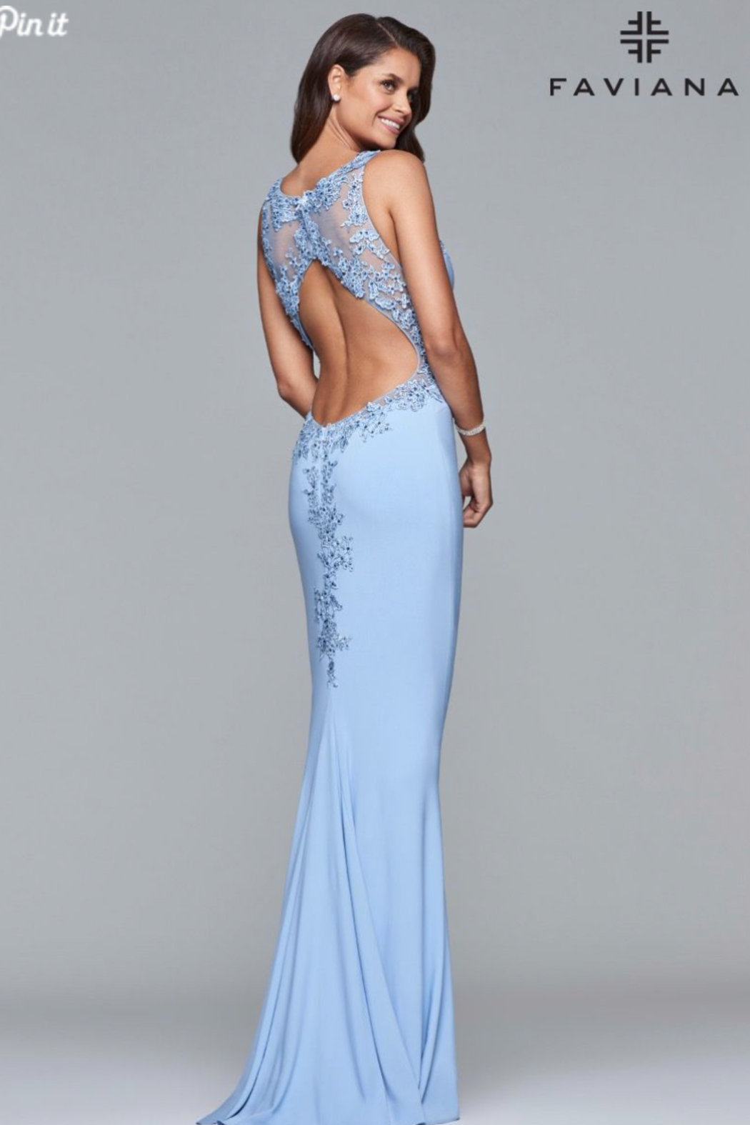 Faviana Beaded Jersey Gown - Front Full Image