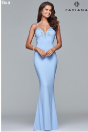 Faviana Beaded Jersey Gown - Front cropped