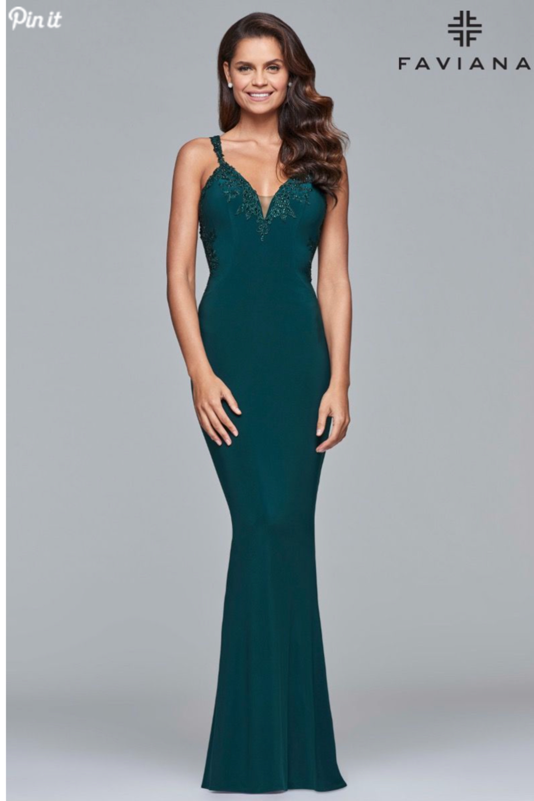 Faviana Beaded Jersey Gown - Front Cropped Image