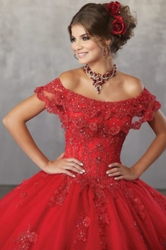Morilee Beaded Lace Appliqués on a Tulle Ballgown with Flounced Neckline - Alternate List Image
