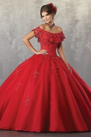 Morilee-Vizcaya Beaded Lace Appliqués on a Tulle Ballgown with Flounced Neckline - Product Mini Image