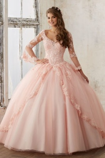 Morilee Beaded Lace on a Princess Tulle Ball Gown from California by Tina's Bridal and Creations —