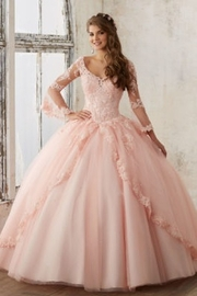Morilee Beaded Lace on a Princess Tulle Ball Gown - Front cropped