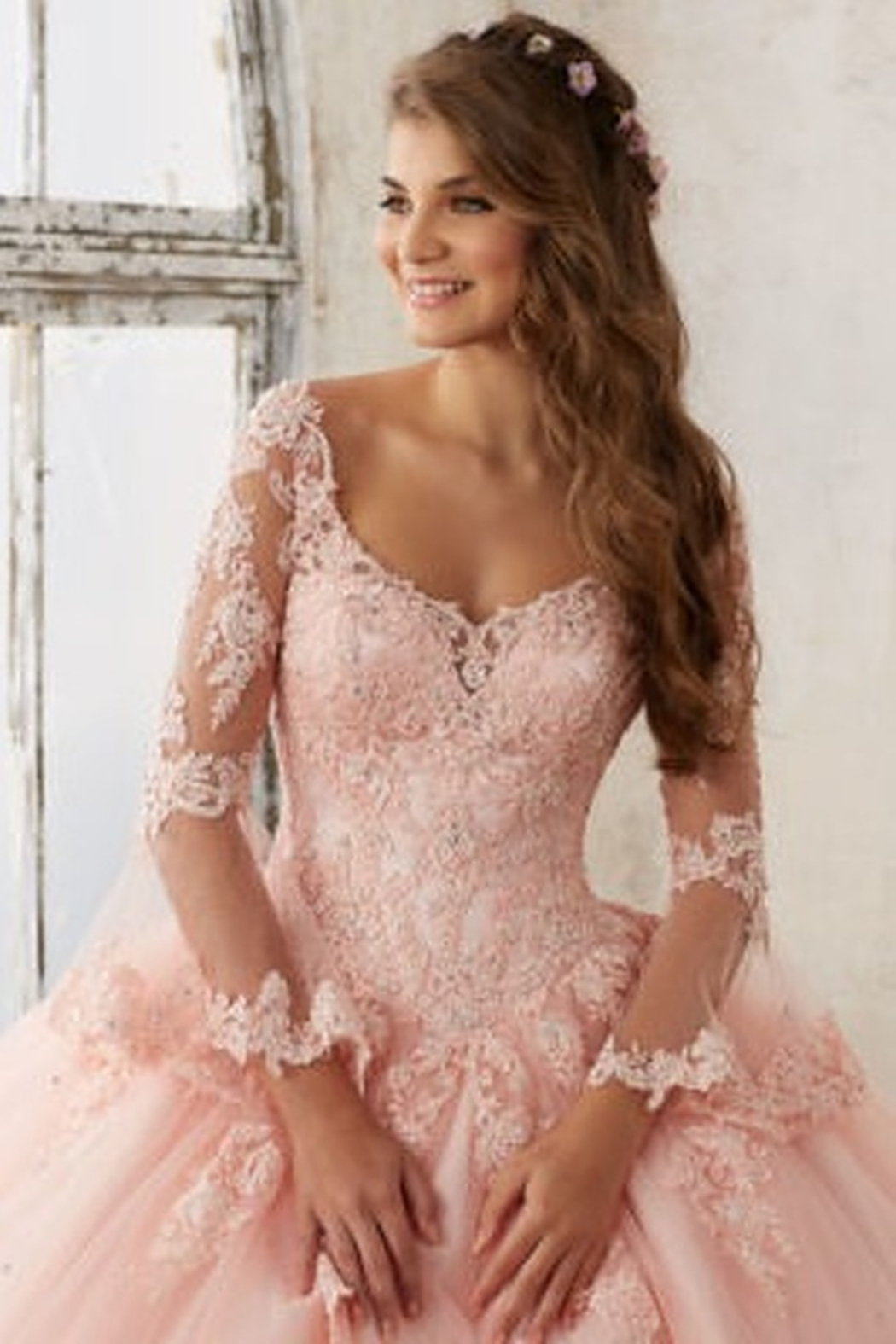 Morilee Beaded Lace on a Princess Tulle Ball Gown - Side Cropped Image