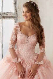 Morilee Beaded Lace on a Princess Tulle Ball Gown - Side cropped