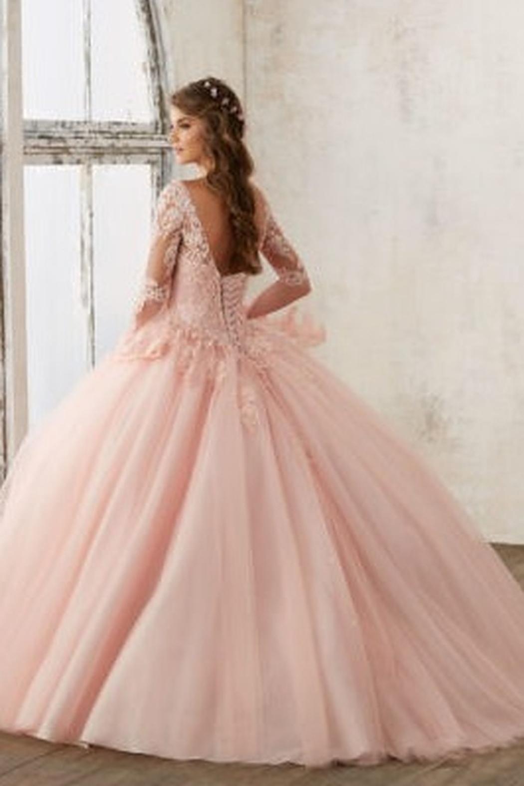 Morilee Beaded Lace on a Princess Tulle Ball Gown - Front Full Image