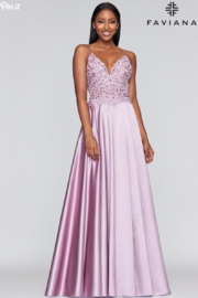Faviana Beaded Mauve Gown - Front cropped