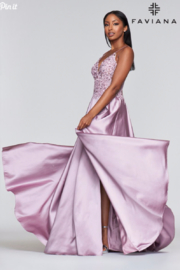 Faviana Beaded Mauve Gown - Front full body