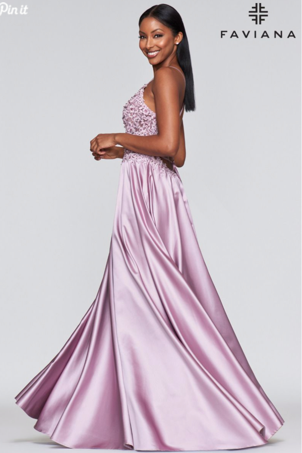 Faviana Beaded Mauve Gown - Side Cropped Image