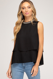 She + Sky Beaded Mock Neck Top - Product Mini Image