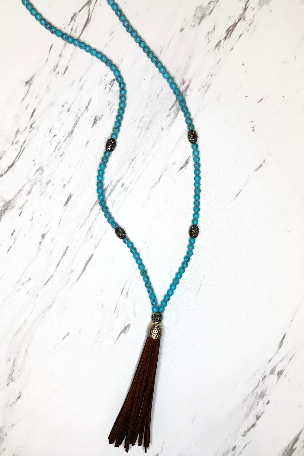 Deux Amies (Duex cuirs C&C) Beaded Necklace w Suede Tassels - Front Cropped Image