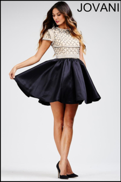 Shoptiques Product: Beaded Nude and Black Short Dress
