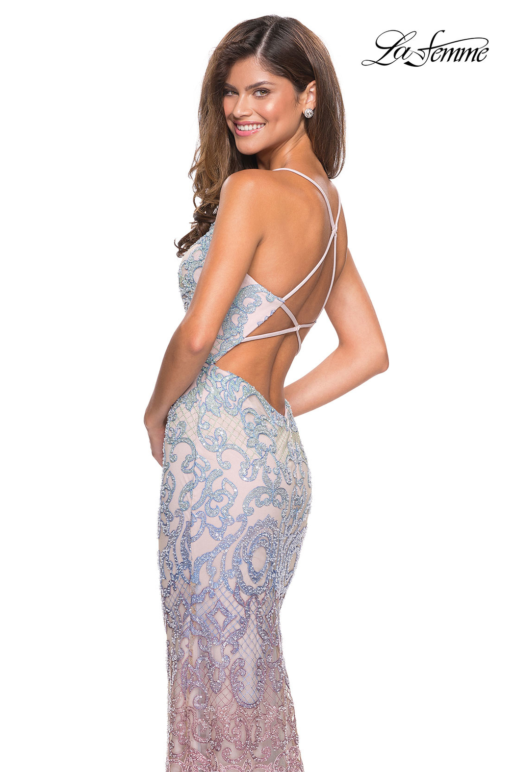 La Femme Beaded Ombre Gown - Side Cropped Image