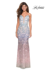 La Femme Beaded Ombre Gown - Front cropped