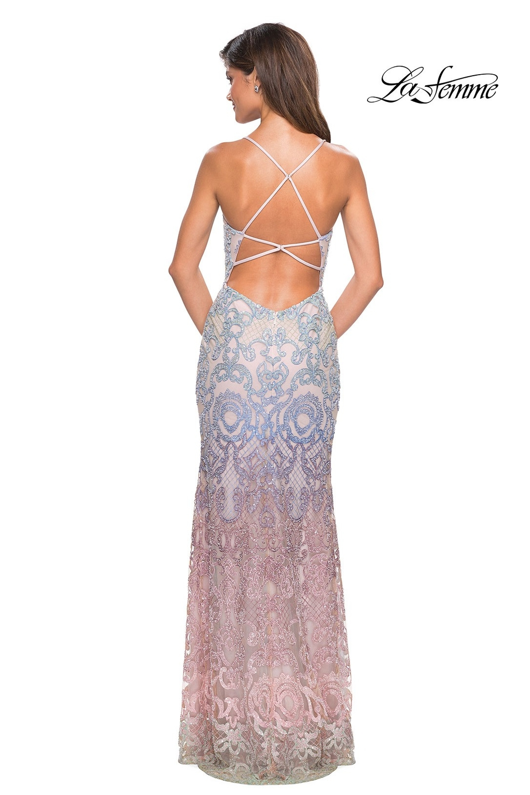 La Femme Beaded Ombre Gown - Front Full Image