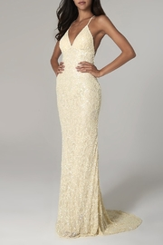 Scala Beaded Paisley Gown w/Low Crisscross Back - Front cropped