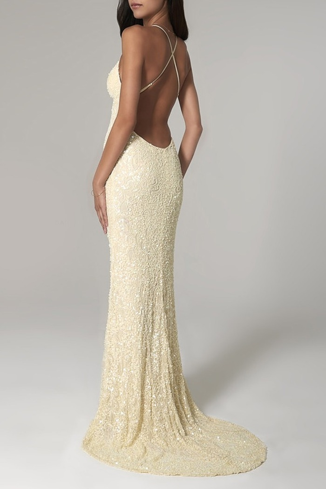 Scala Beaded Paisley Gown w/Low Crisscross Back - Front Full Image