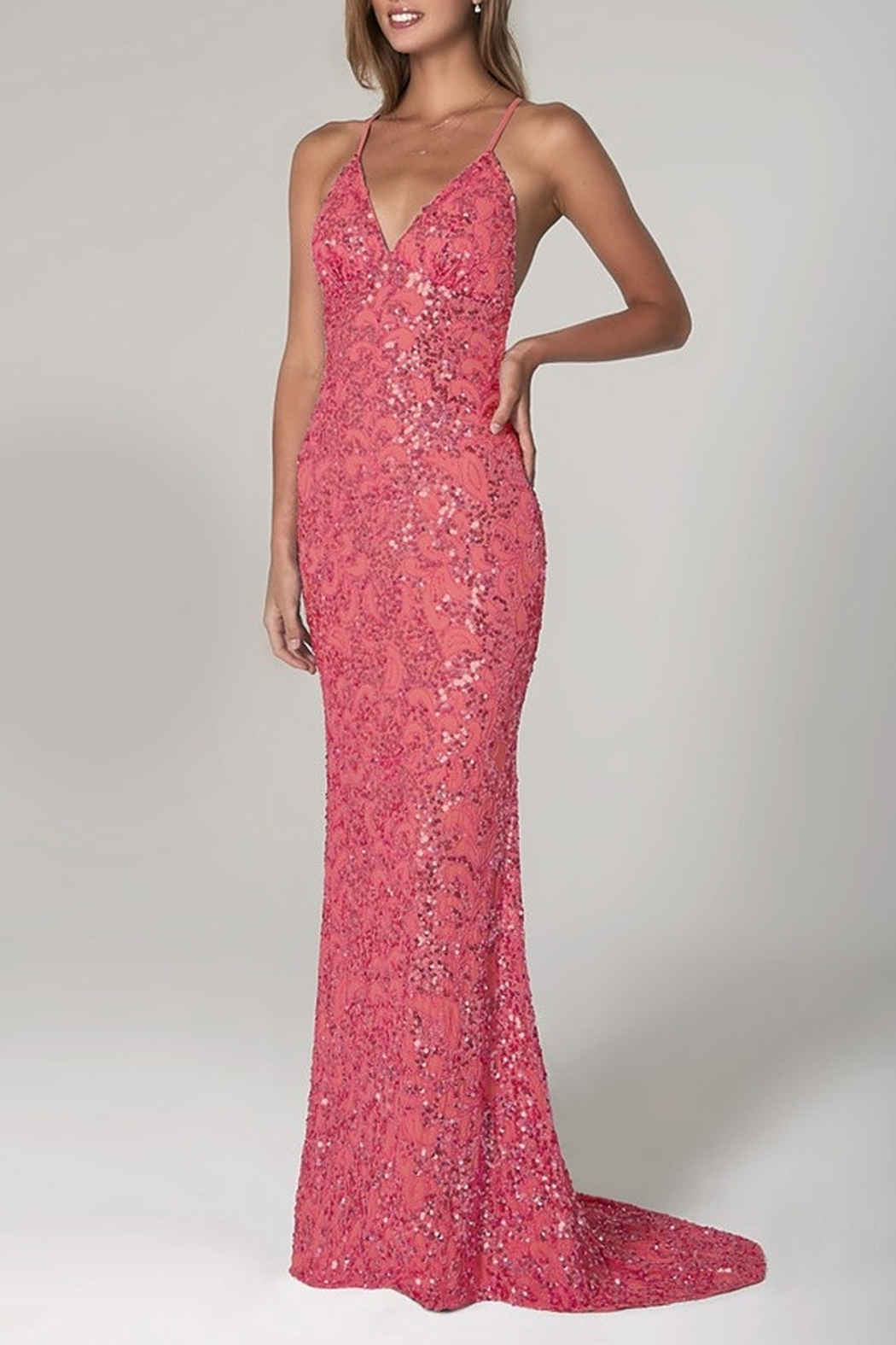 Scala Beaded Paisley Gown w/Low Crisscross Back - Main Image