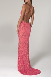 Scala Beaded Paisley Gown w/Low Crisscross Back - Front full body