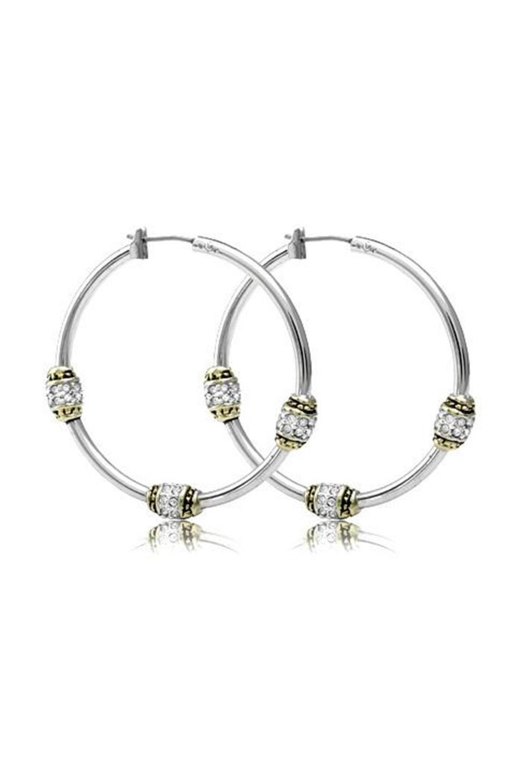 JOHN MEDEIROS Beaded-Pavé Triple-Bead-Hoop Earrings - Front Cropped Image