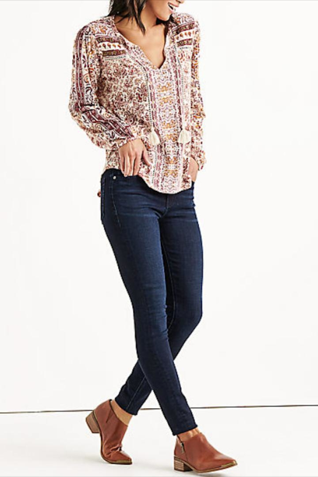 Lucky Brand Beaded Peasant Top - Front Full Image