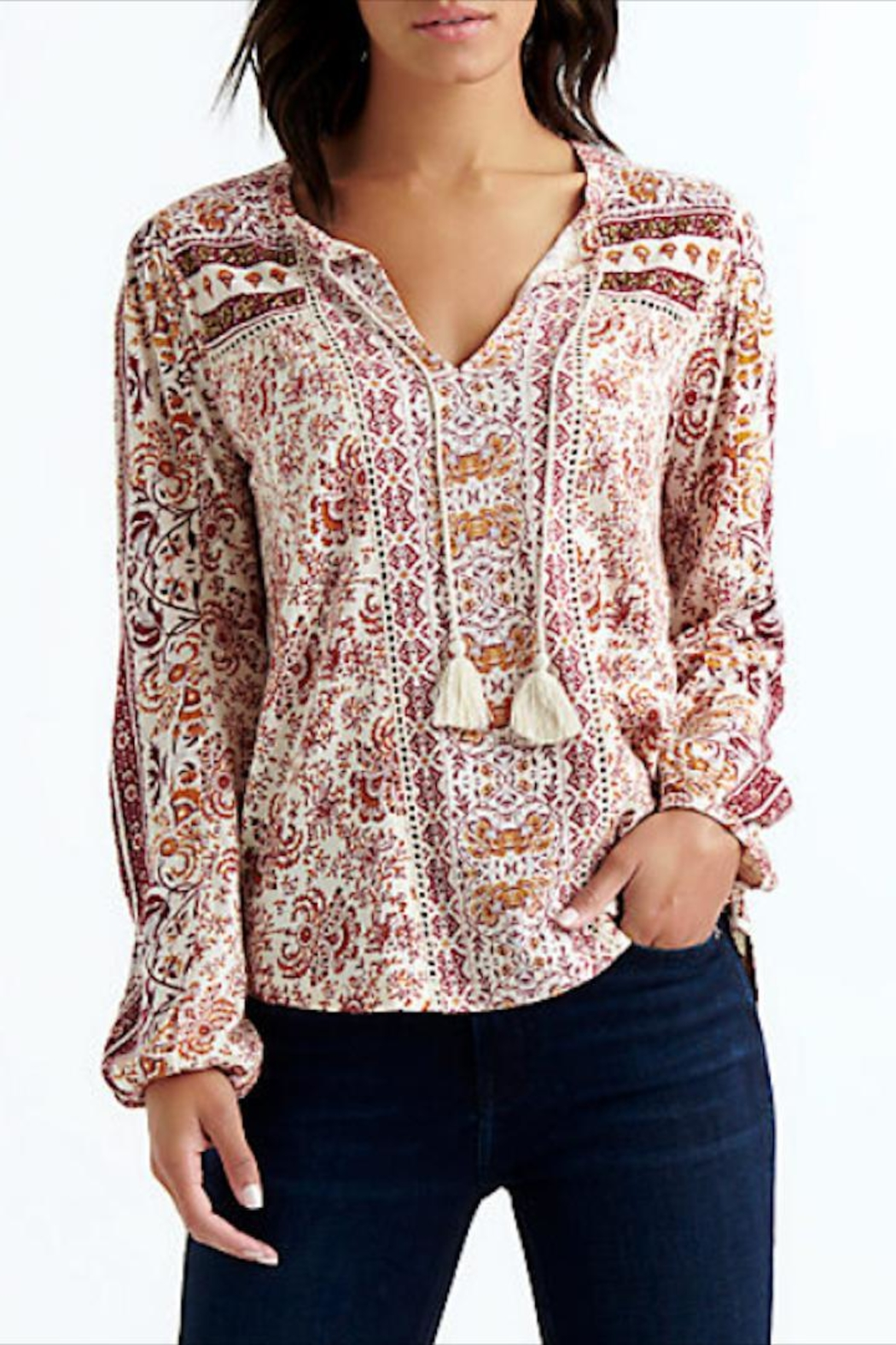 Lucky Brand Beaded Peasant Top - Main Image