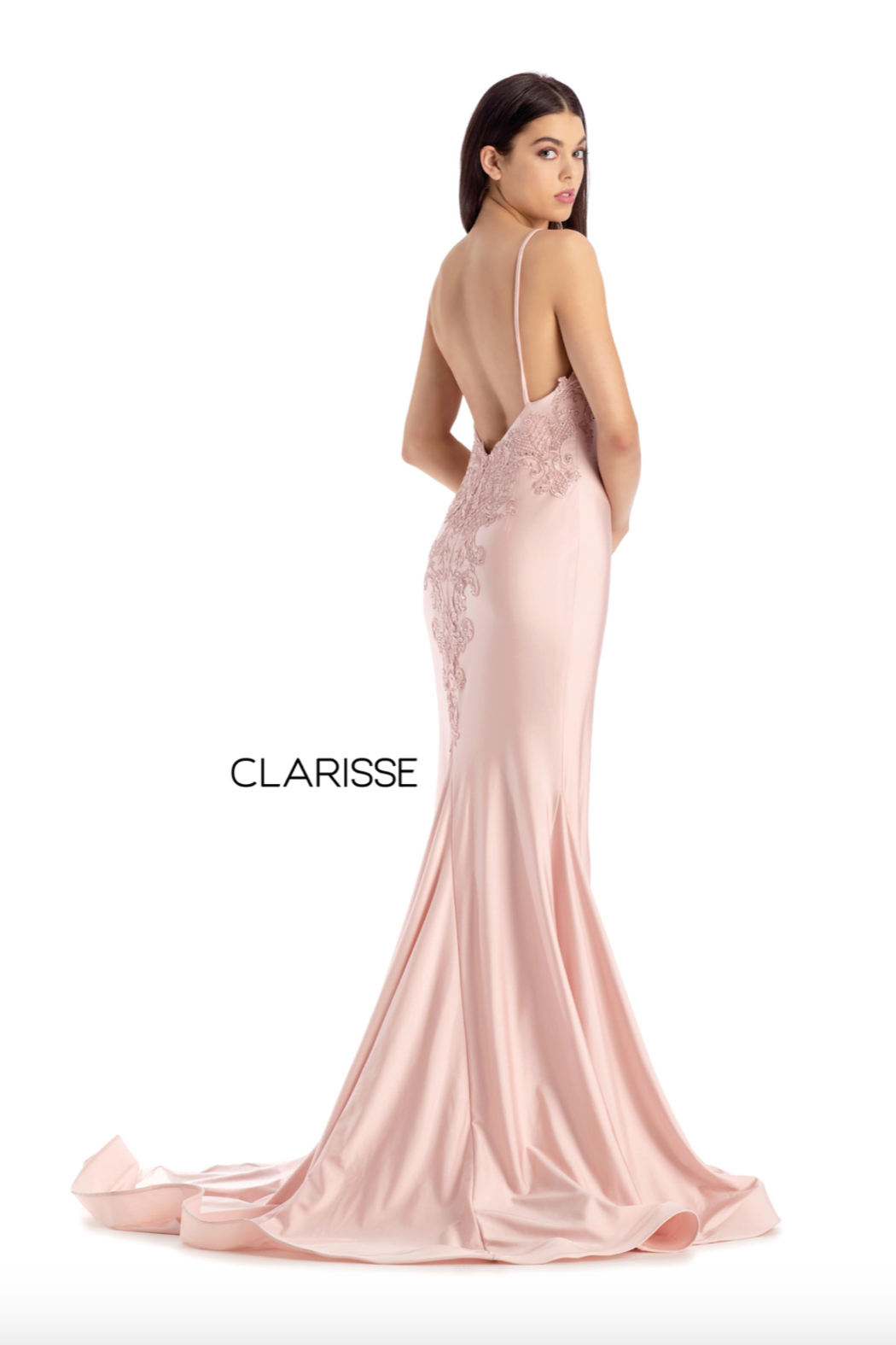 CLARISSE Beaded Pink Gown - Main Image
