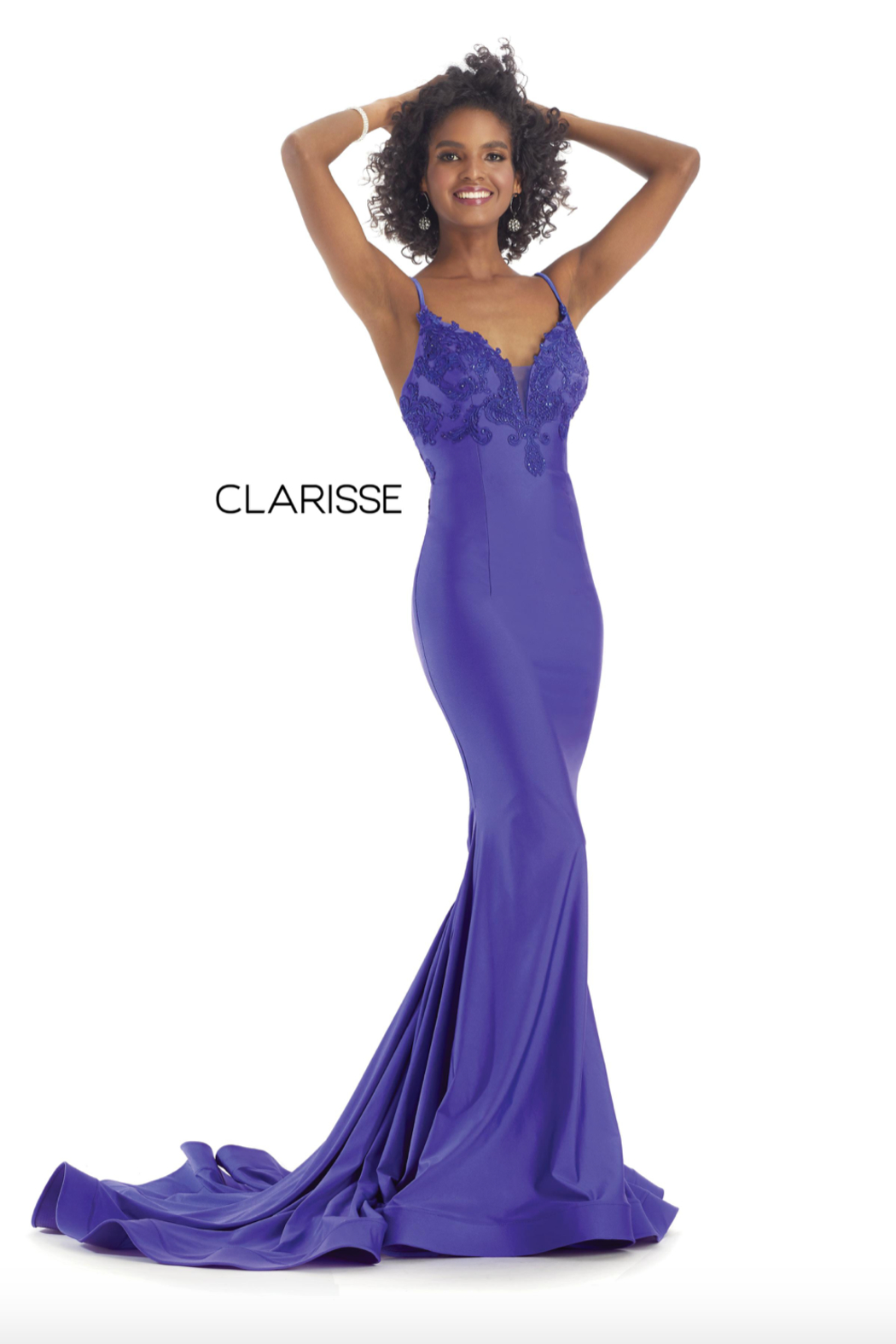 CLARISSE Beaded Pink Gown - Front Full Image