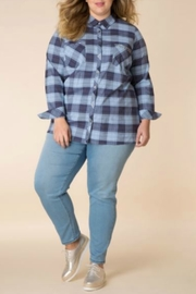 Yest Beaded plaid button down top - Front cropped