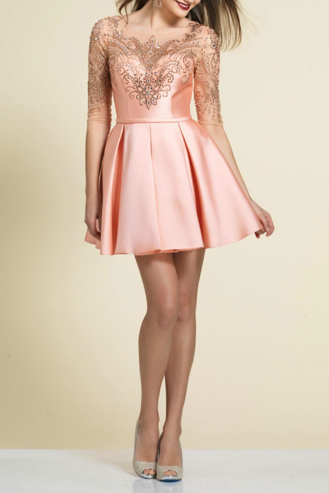Dave and Johnny Beaded Pleated Dress - Main Image