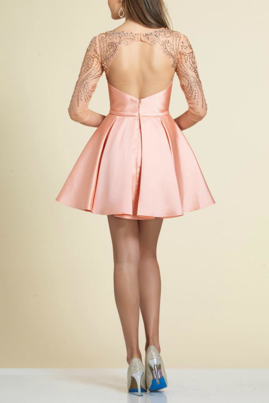 Dave and Johnny Beaded Pleated Dress - Front Full Image