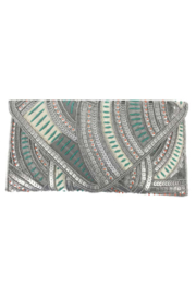 Ricki Designs Beaded Sequin Pink / Sage Envelope Clutch - Product Mini Image