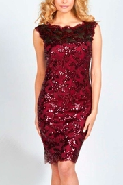 Frank Lyman Beaded Sequin Wine Color Knee Length Dress - Product Mini Image