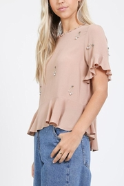 LoveRiche Beaded Shortsleeve Top - Product Mini Image