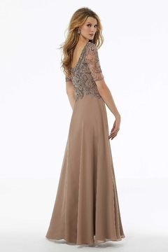 MGNY Beaded Square Neckline Gown, Silver - Alternate List Image