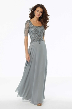 MGNY Beaded Square Neckline Gown, Silver - Product List Image
