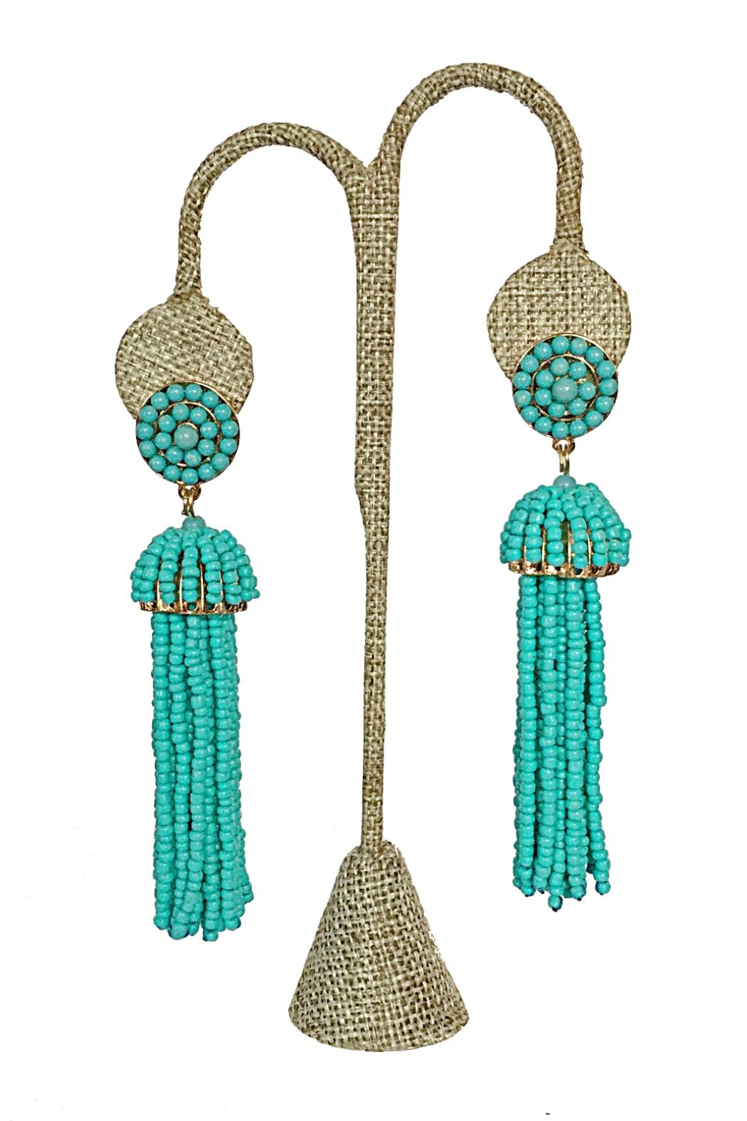 No Label  Beaded Tassel Earrings - Front Cropped Image