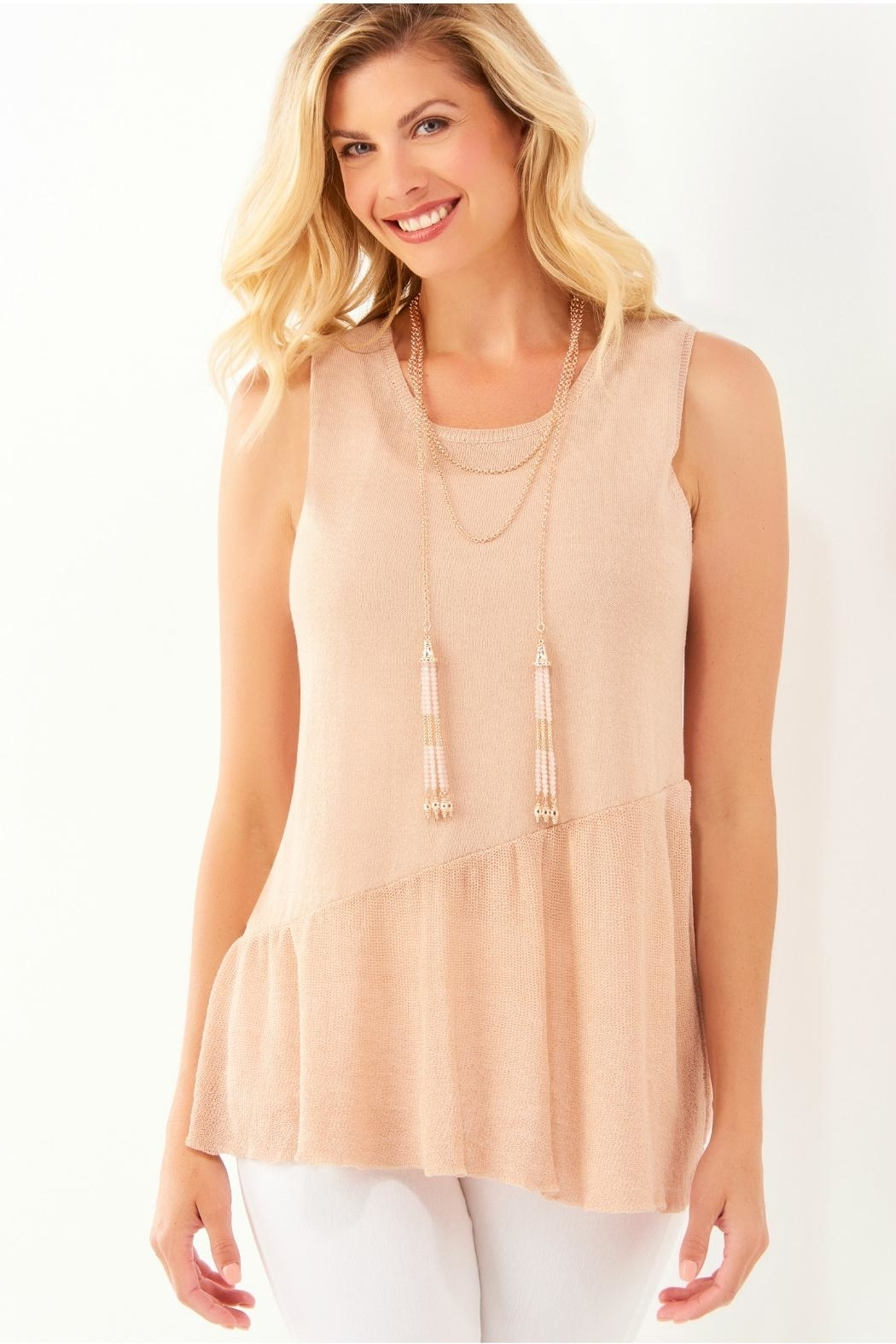 Charlie Paige Beaded Tassel Necklace - Front Full Image