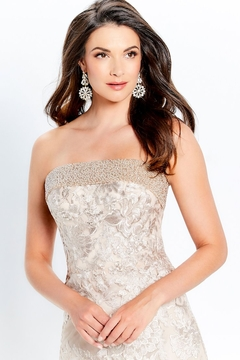 Montage Beaded Trim Strapless Gown, Champagne - Alternate List Image