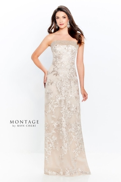 Montage Beaded Trim Strapless Gown, Champagne - Product List Image