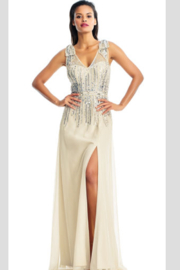 Aidan Mattox Beaded V-Neck Gown with long slit skirt - Product Mini Image