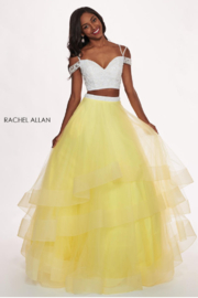 Rachel Allan Beading & Tulle 2-Piece Prom Dress, White Yellow - Product Mini Image