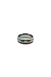 Bean & Vanilla Koa Wood Tungsten Ring - Product Mini Image