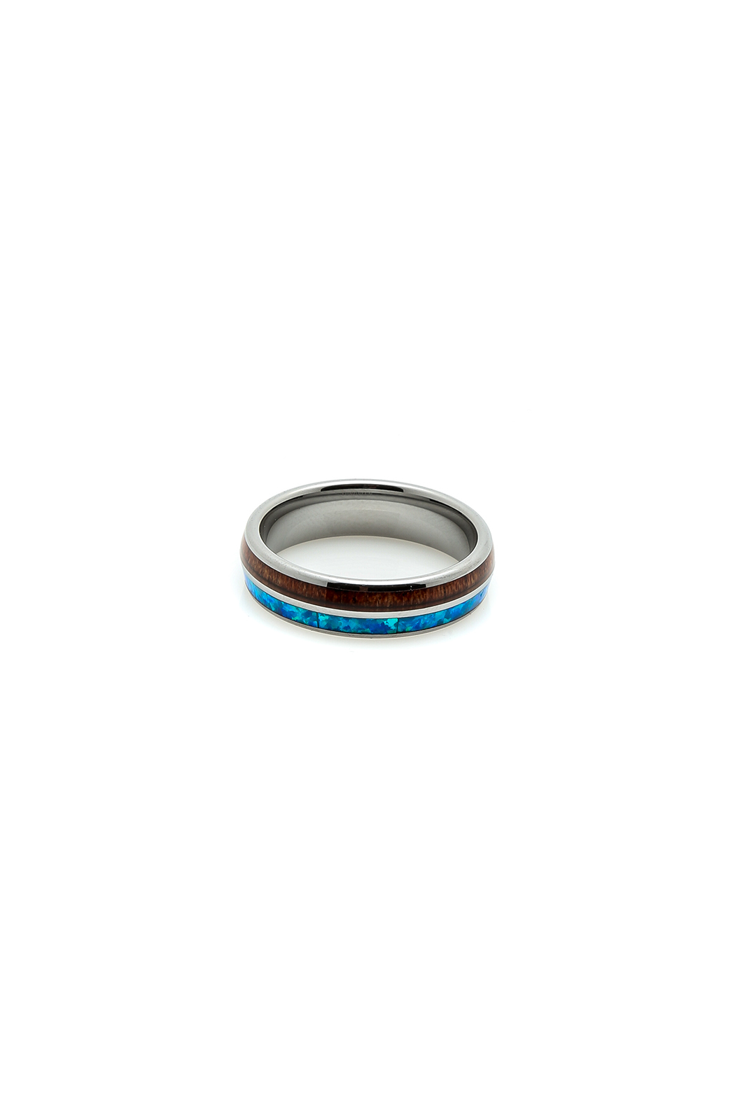 Bean & Vanilla Opal Inlay Tungsten Ring - Main Image