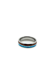 Bean & Vanilla Opal Inlay Tungsten Ring - Front cropped